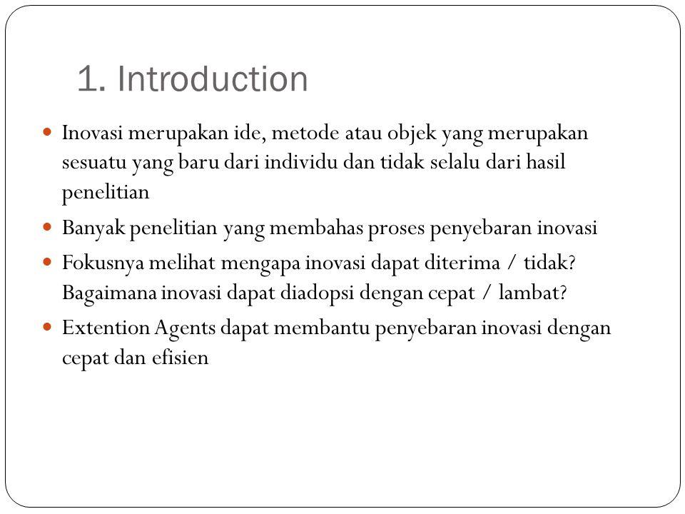 1. Introduction Inovasi merupakan ide, metode atau objek yang merupakan sesuatu yang baru dari individu dan tidak selalu dari hasil penelitian.