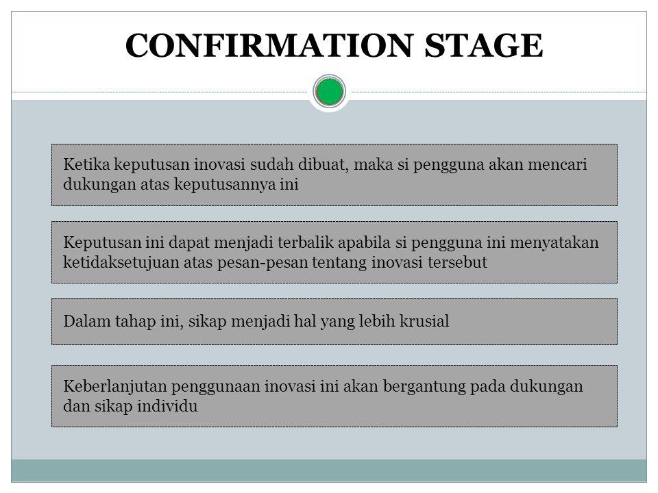 CONFIRMATION STAGE Ketika keputusan inovasi sudah dibuat, maka si pengguna akan mencari dukungan atas keputusannya ini.