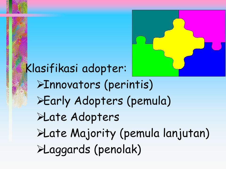 Klasifikasi adopter: Innovators (perintis) Early Adopters (pemula) Late Adopters. Late Majority (pemula lanjutan)