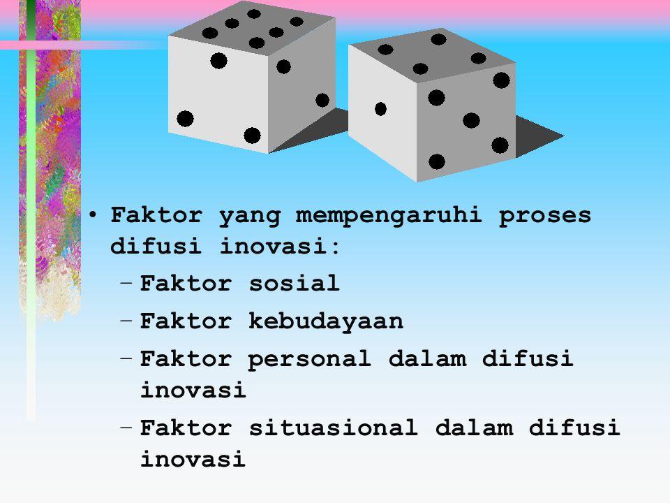 Faktor yang mempengaruhi proses difusi inovasi: