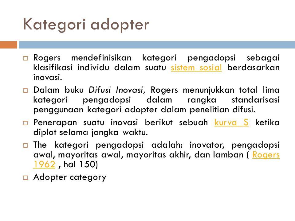 Kategori adopter Rogers mendefinisikan kategori pengadopsi sebagai klasifikasi individu dalam suatu sistem sosial berdasarkan inovasi.