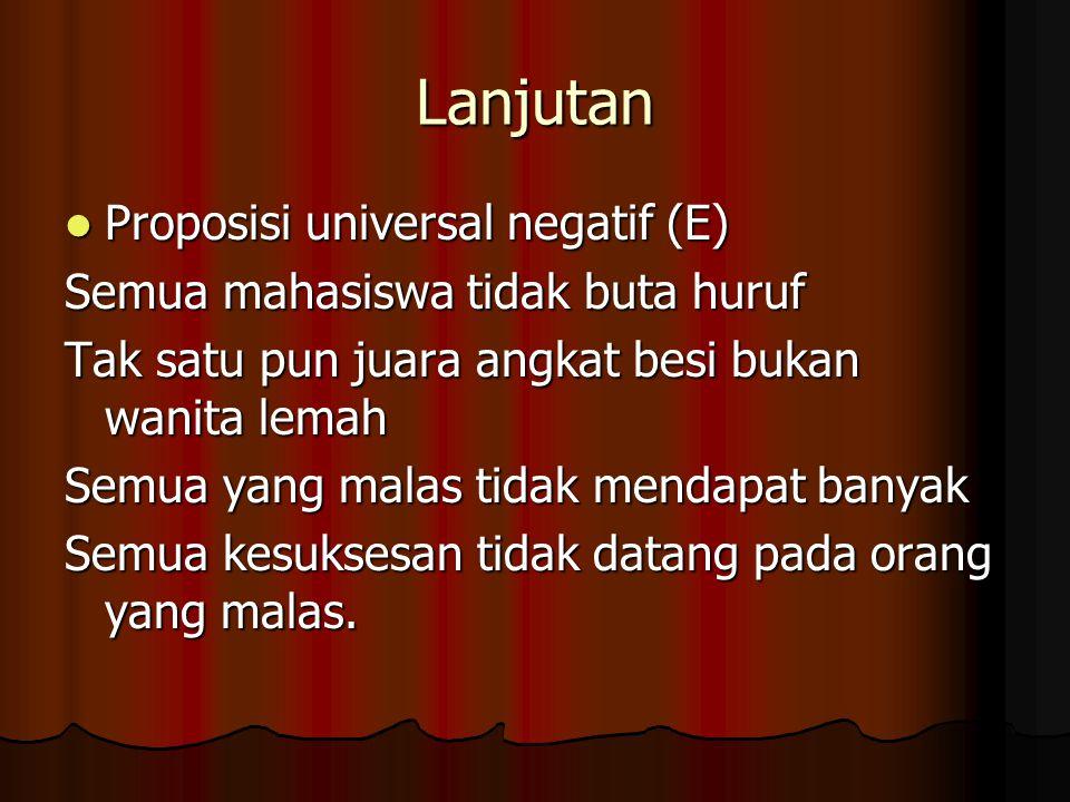 Lanjutan Proposisi universal negatif (E)