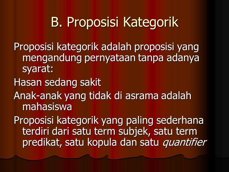 B. Proposisi Kategorik Proposisi kategorik adalah proposisi yang mengandung pernyataan tanpa adanya syarat: