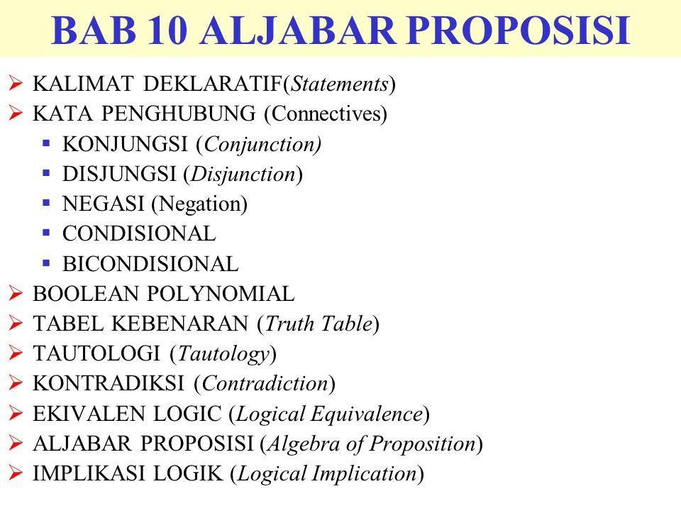 BAB 10 ALJABAR PROPOSISI KALIMAT DEKLARATIF(Statements)