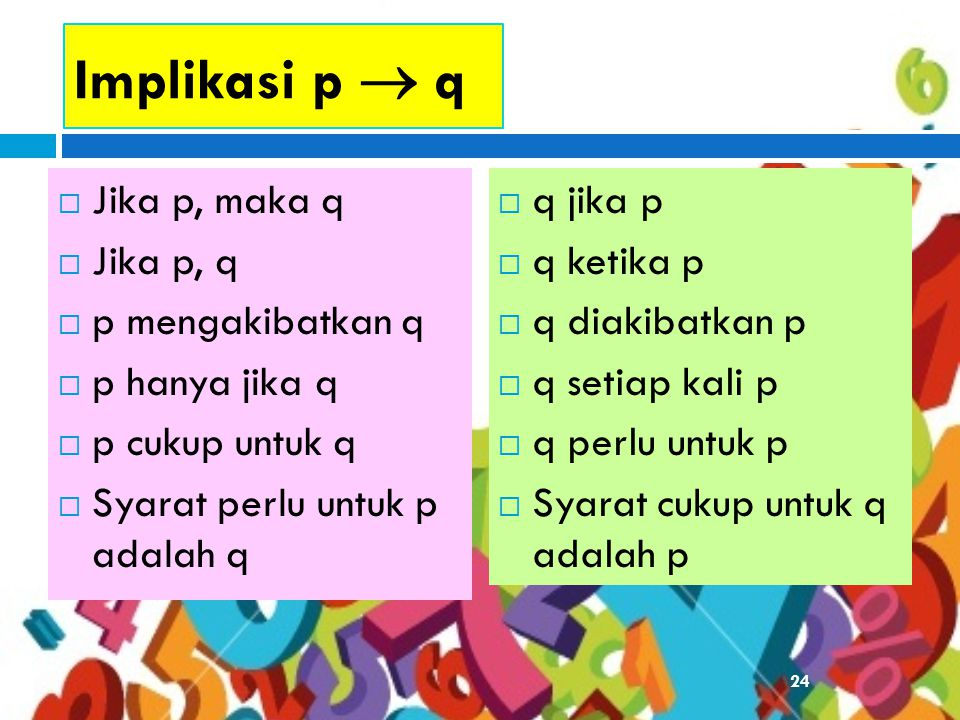 Implikasi p  q Jika p, maka q Jika p, q p mengakibatkan q