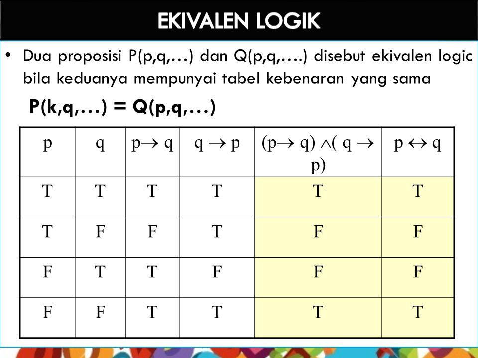 EKIVALEN LOGIK P(k,q,…) = Q(p,q,…)