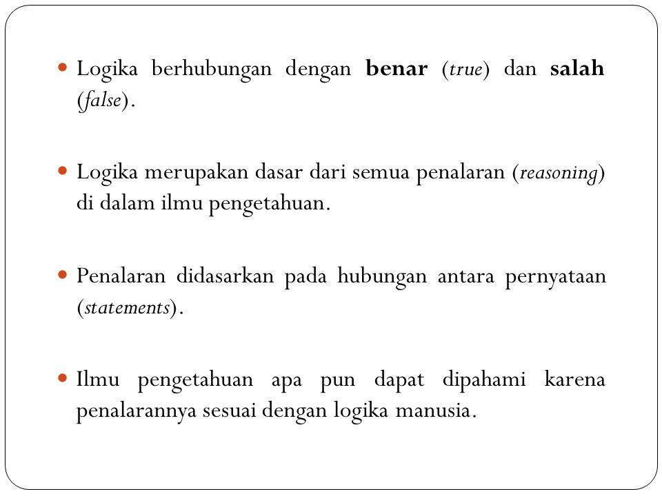 Logika berhubungan dengan benar (true) dan salah (false).