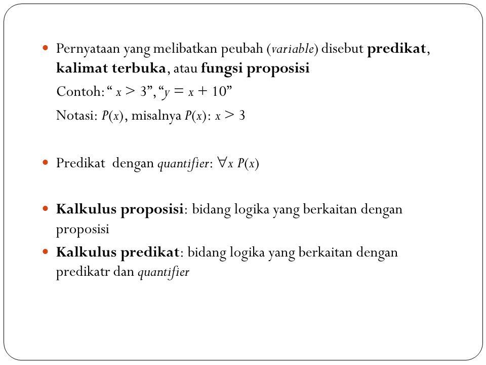 Pernyataan yang melibatkan peubah (variable) disebut predikat, kalimat terbuka, atau fungsi proposisi