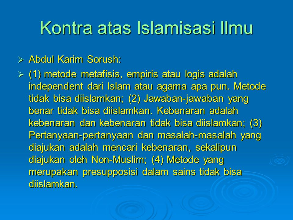 Kontra atas Islamisasi Ilmu