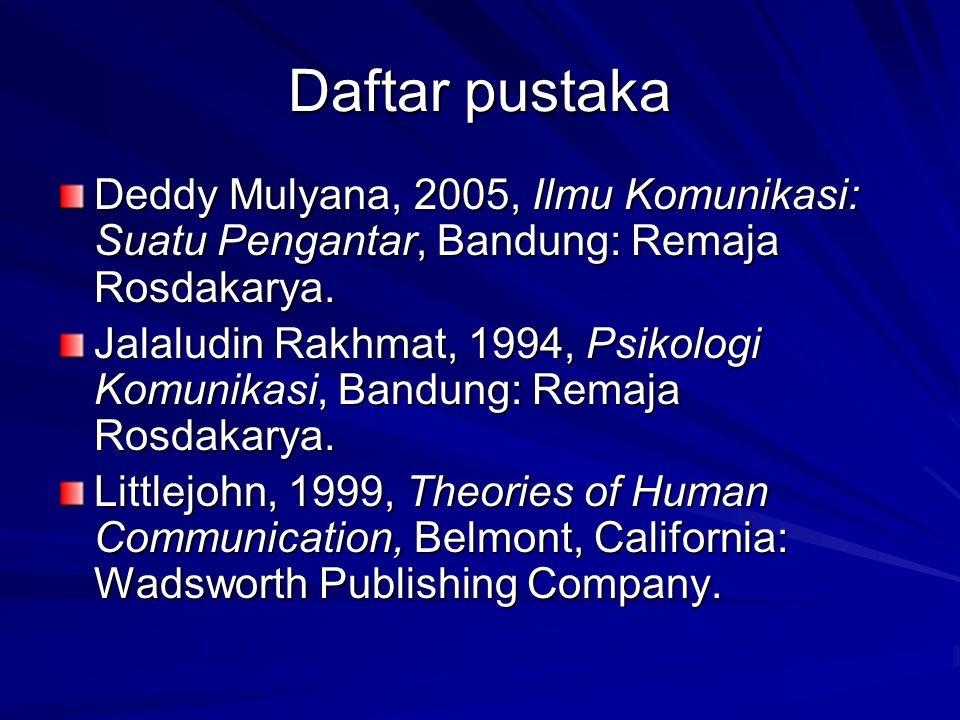Daftar pustaka Deddy Mulyana, 2005, Ilmu Komunikasi: Suatu Pengantar, Bandung: Remaja Rosdakarya.