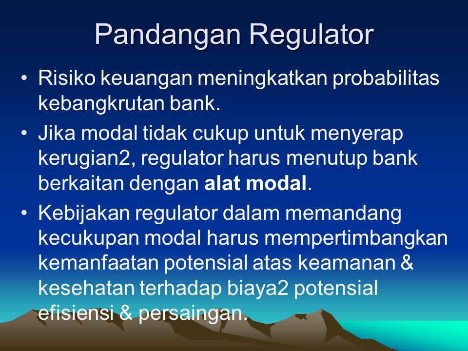 Pandangan Regulator Risiko keuangan meningkatkan probabilitas kebangkrutan bank.
