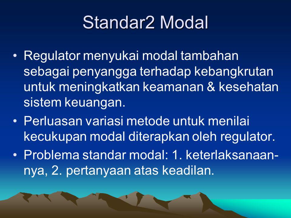 Standar2 Modal Regulator menyukai modal tambahan sebagai penyangga terhadap kebangkrutan untuk meningkatkan keamanan & kesehatan sistem keuangan.