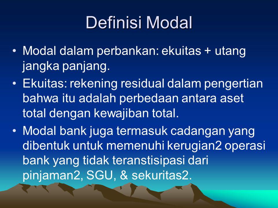 Definisi Modal Modal dalam perbankan: ekuitas + utang jangka panjang.
