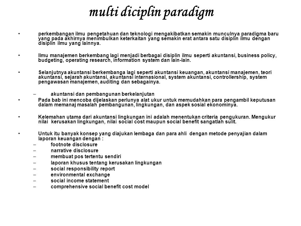 multi diciplin paradigm