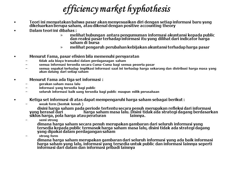 efficiency market hyphothesis