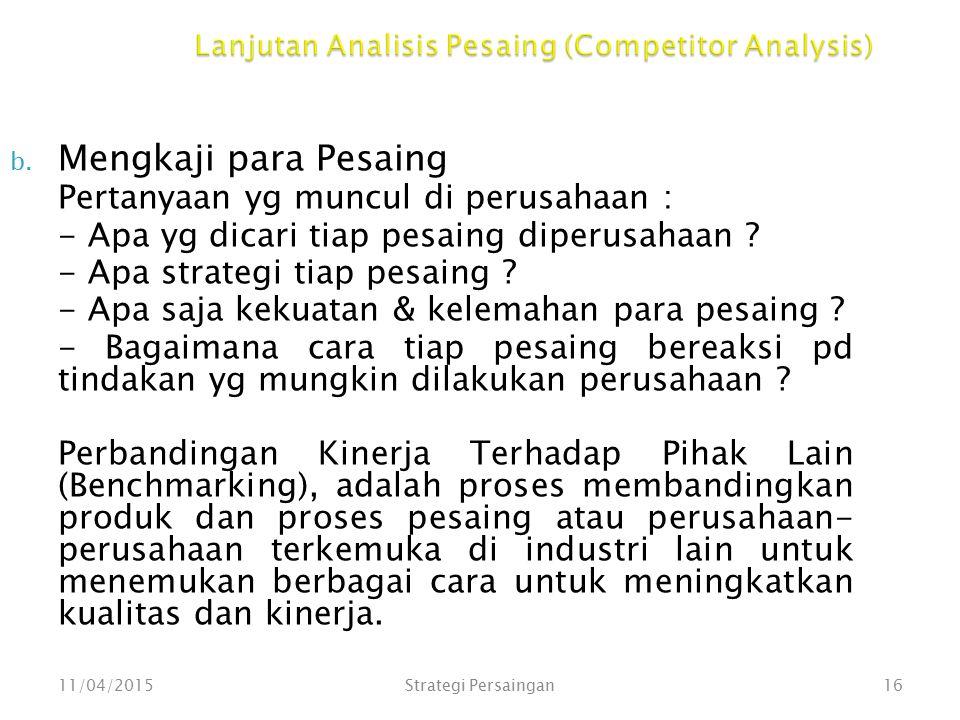 Lanjutan Analisis Pesaing (Competitor Analysis)