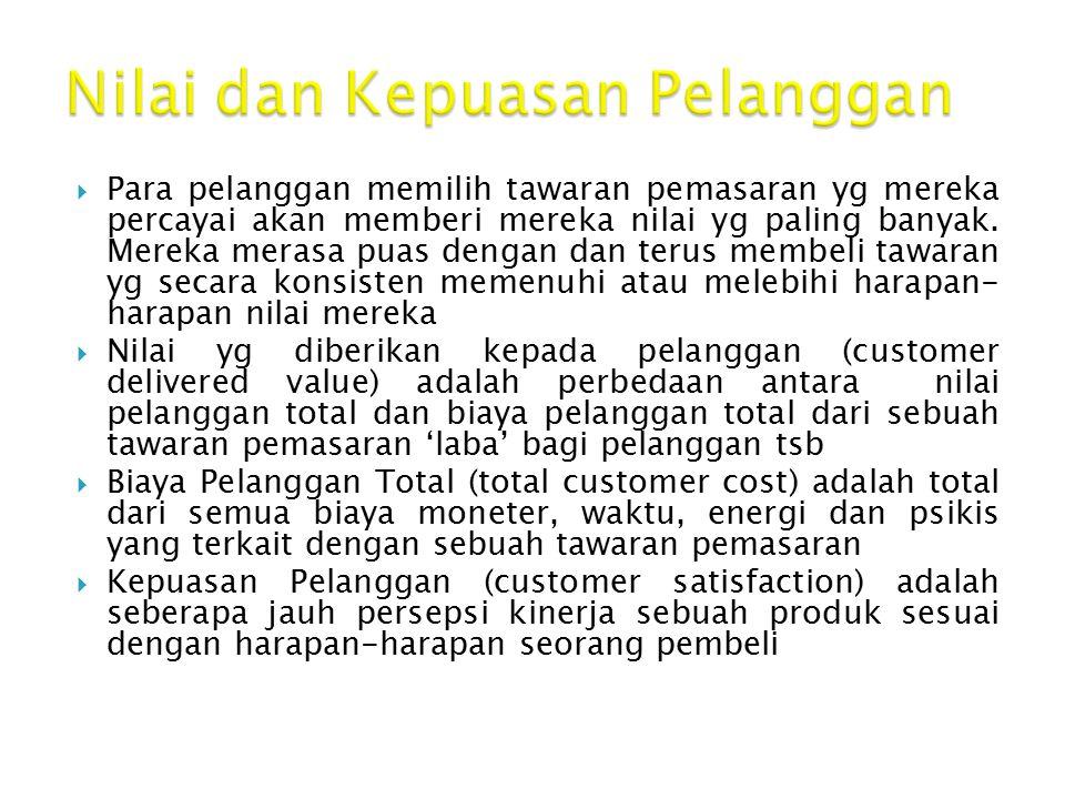Nilai dan Kepuasan Pelanggan