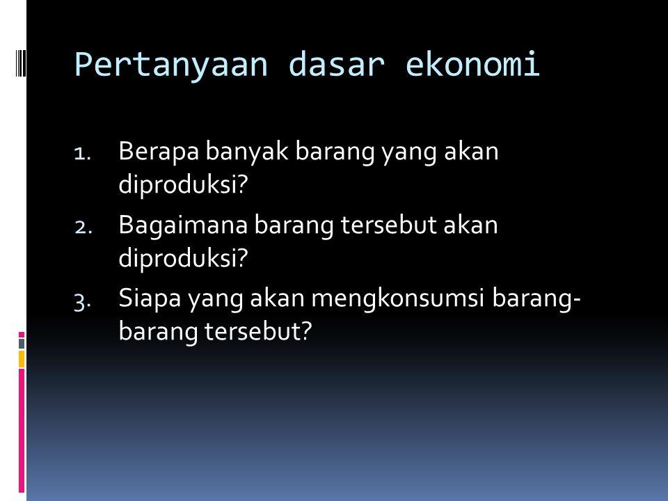 Pertanyaan dasar ekonomi