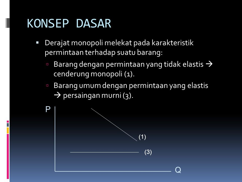 KONSEP DASAR Derajat monopoli melekat pada karakteristik permintaan terhadap suatu barang: