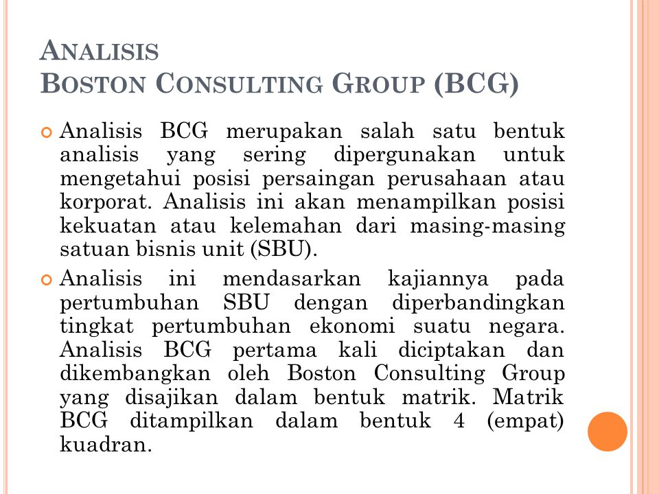 Analisis Boston Consulting Group (BCG)