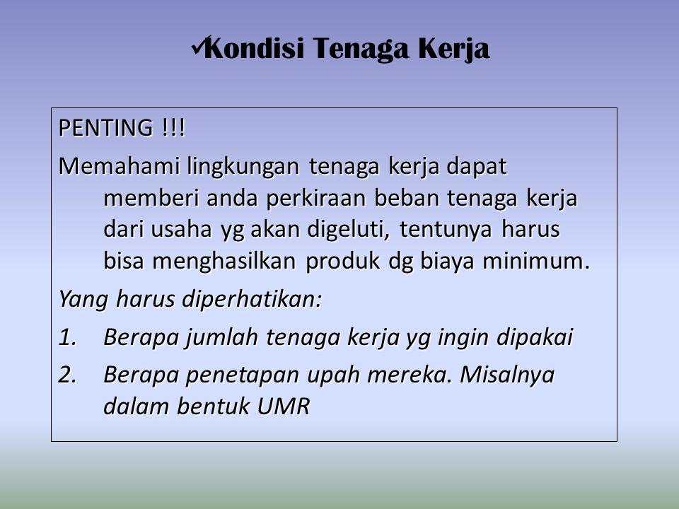 Kondisi Tenaga Kerja PENTING !!!