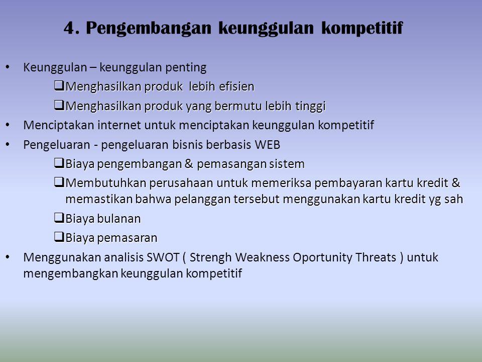 4. Pengembangan keunggulan kompetitif