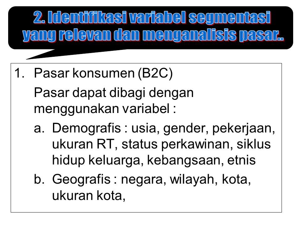 2. Identifikasi variabel segmentasi