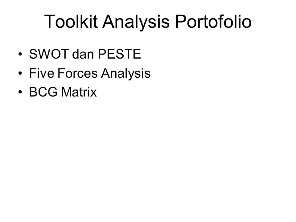 Toolkit Analysis Portofolio
