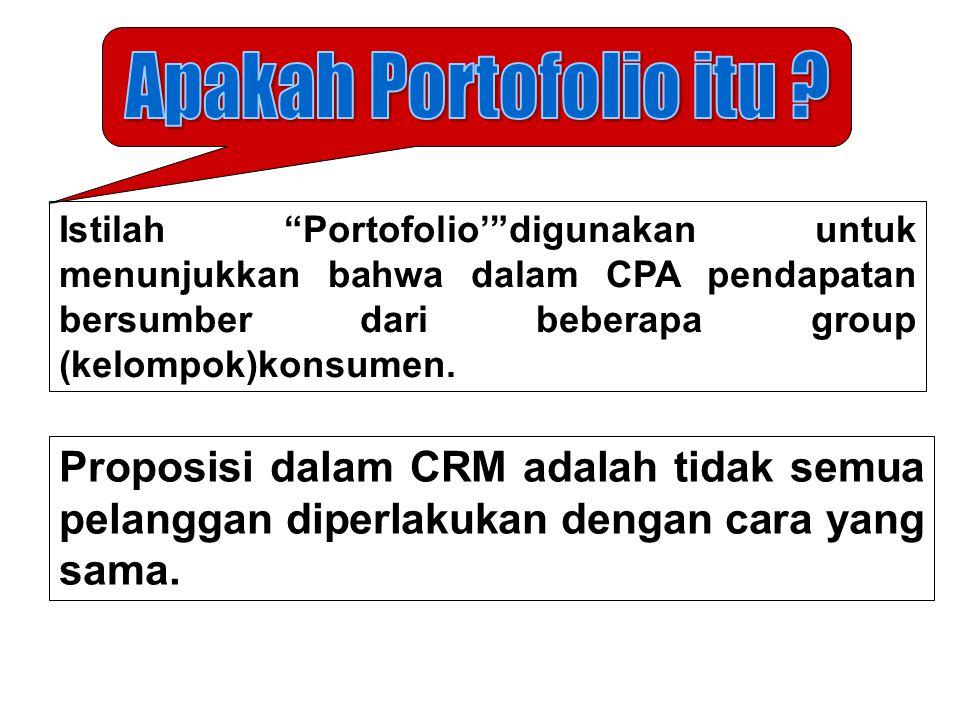 Apakah Portofolio itu Istilah Portofolio' digunakan untuk menunjukkan bahwa dalam CPA pendapatan bersumber dari beberapa group (kelompok)konsumen.