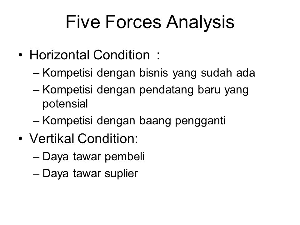 Five Forces Analysis Horizontal Condition : Vertikal Condition: