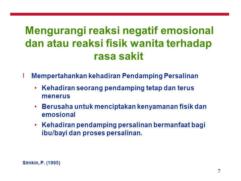Mengurangi reaksi negatif emosional dan atau reaksi fisik wanita terhadap rasa sakit