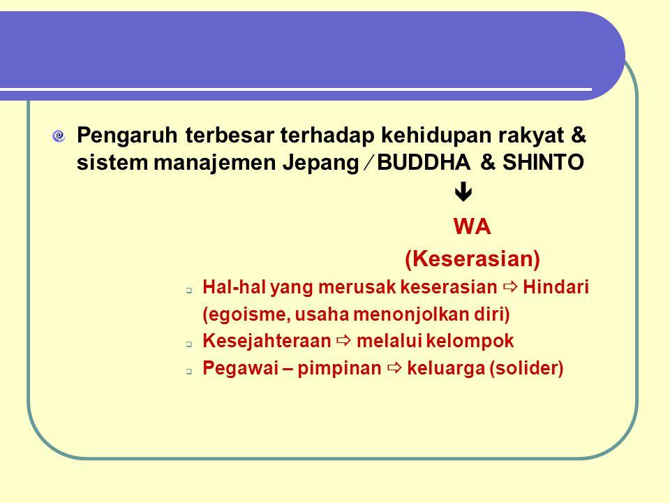 Pengaruh terbesar terhadap kehidupan rakyat & sistem manajemen Jepang  BUDDHA & SHINTO