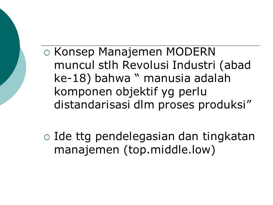Konsep Manajemen MODERN muncul stlh Revolusi Industri (abad ke-18) bahwa manusia adalah komponen objektif yg perlu distandarisasi dlm proses produksi
