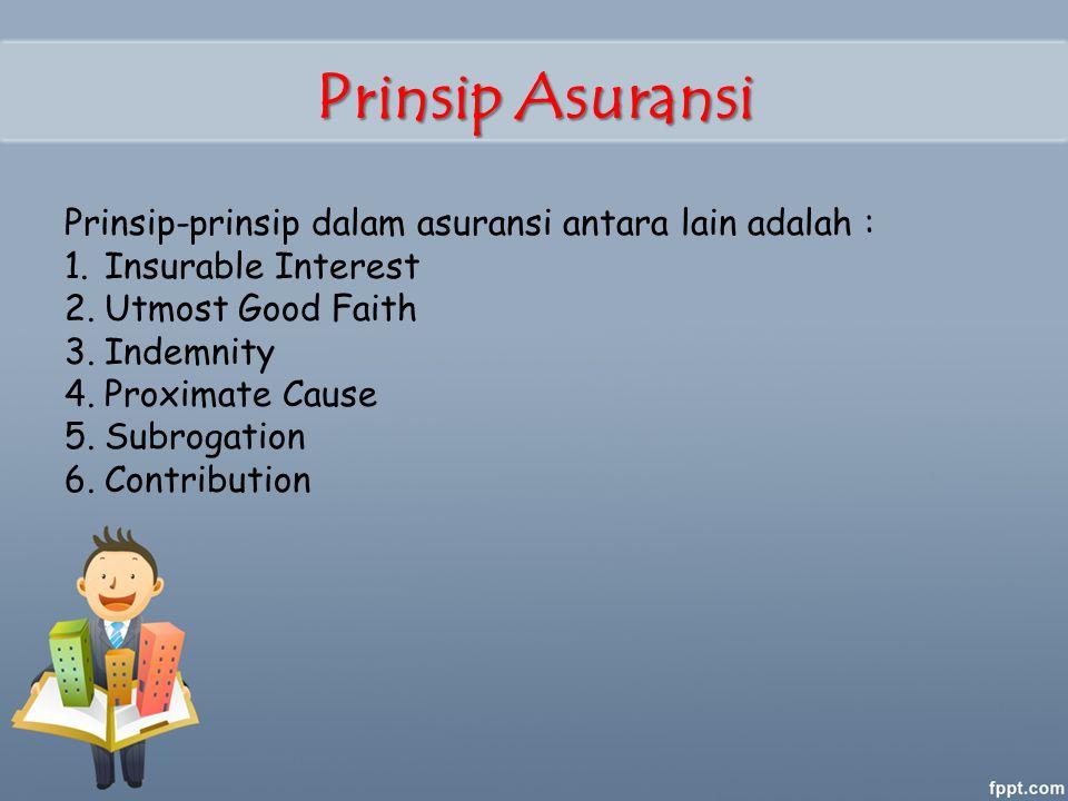 Prinsip Asuransi Prinsip-prinsip dalam asuransi antara lain adalah :