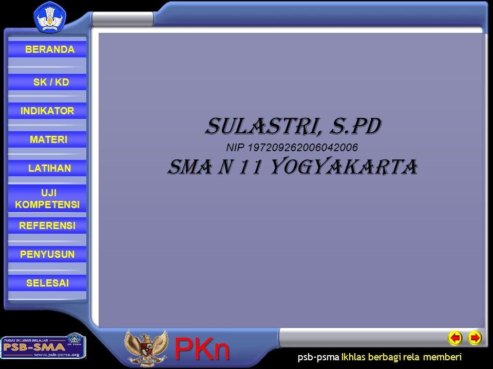 Sulastri, S.Pd NIP 197209262006042006 SMA N 11 YOGYAKARTA