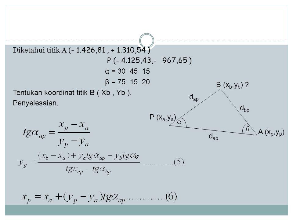 Diketahui titik A (- 1. 426,81 , + 1. 310,54 ) P (- 4