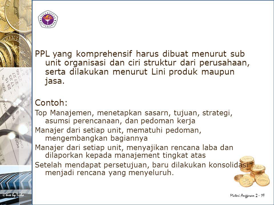 PPL yang komprehensif harus dibuat menurut sub unit organisasi dan ciri struktur dari perusahaan, serta dilakukan menurut Lini produk maupun jasa.