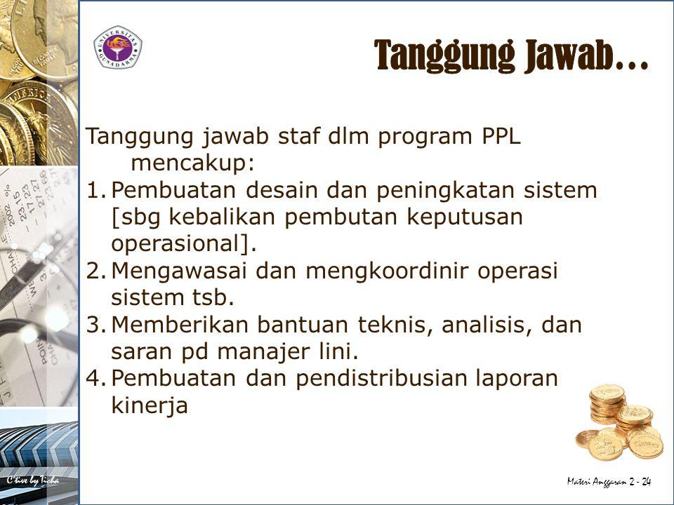 Tanggung Jawab… Tanggung jawab staf dlm program PPL mencakup: