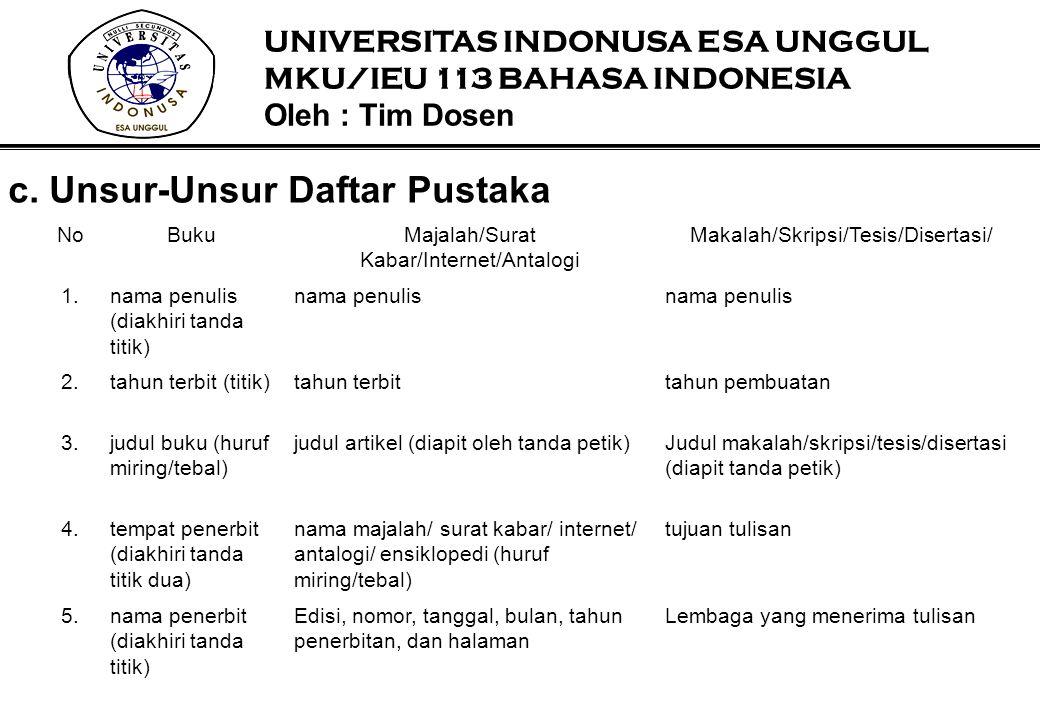 c. Unsur-Unsur Daftar Pustaka