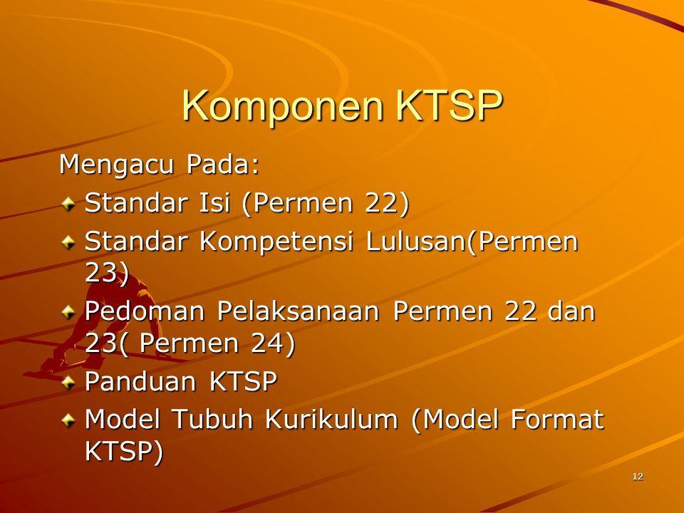 Komponen KTSP Mengacu Pada: Standar Isi (Permen 22)