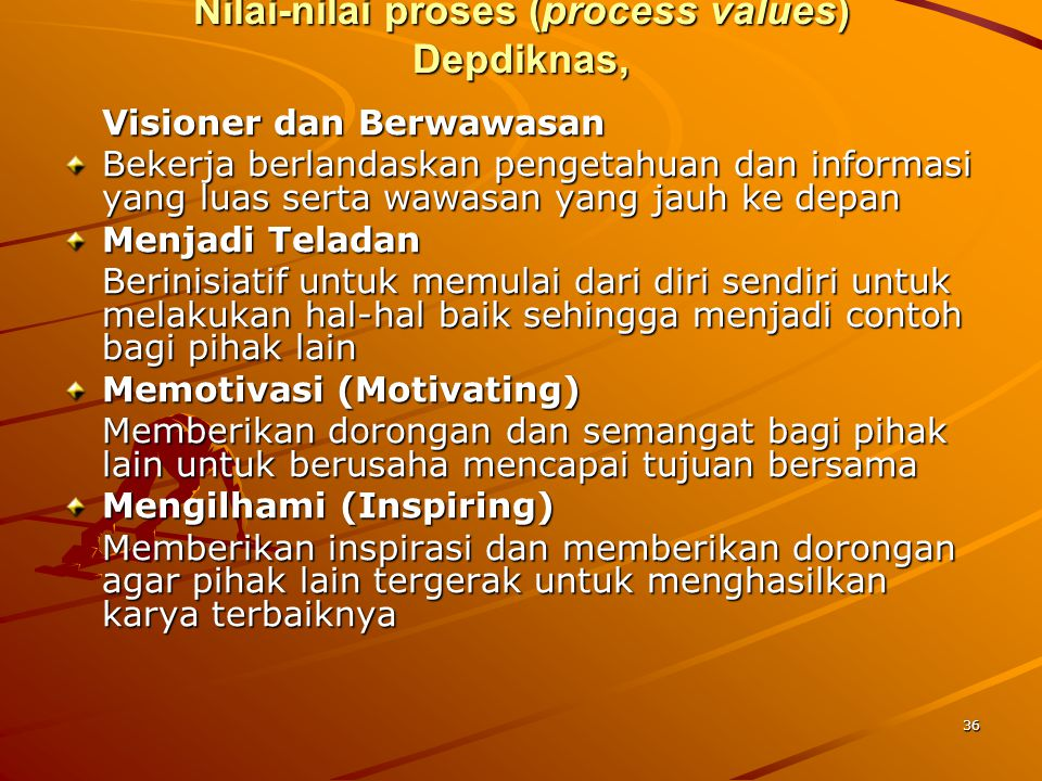 Nilai-nilai proses (process values) Depdiknas,