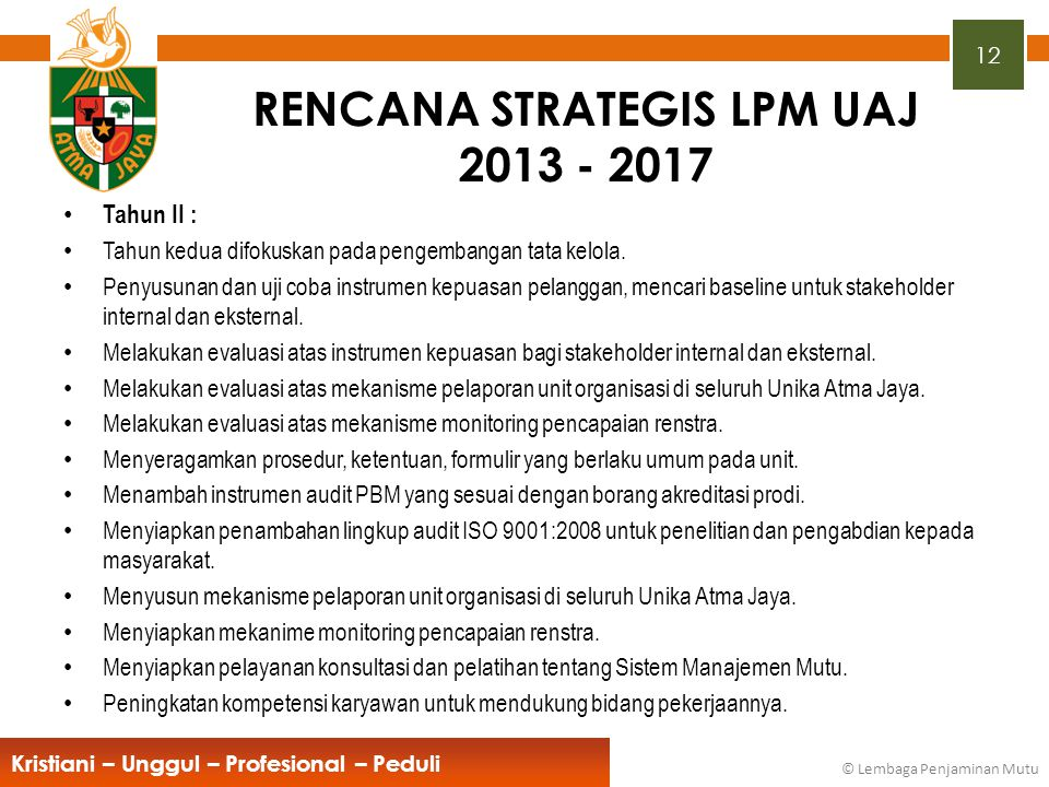 RENCANA STRATEGIS LPM UAJ 2013 - 2017