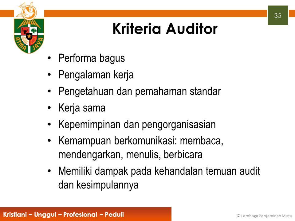 Kriteria Auditor Performa bagus Pengalaman kerja