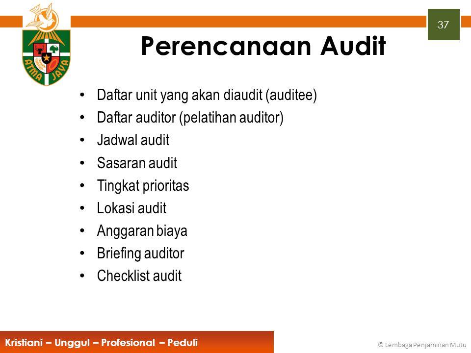 Perencanaan Audit Daftar unit yang akan diaudit (auditee)