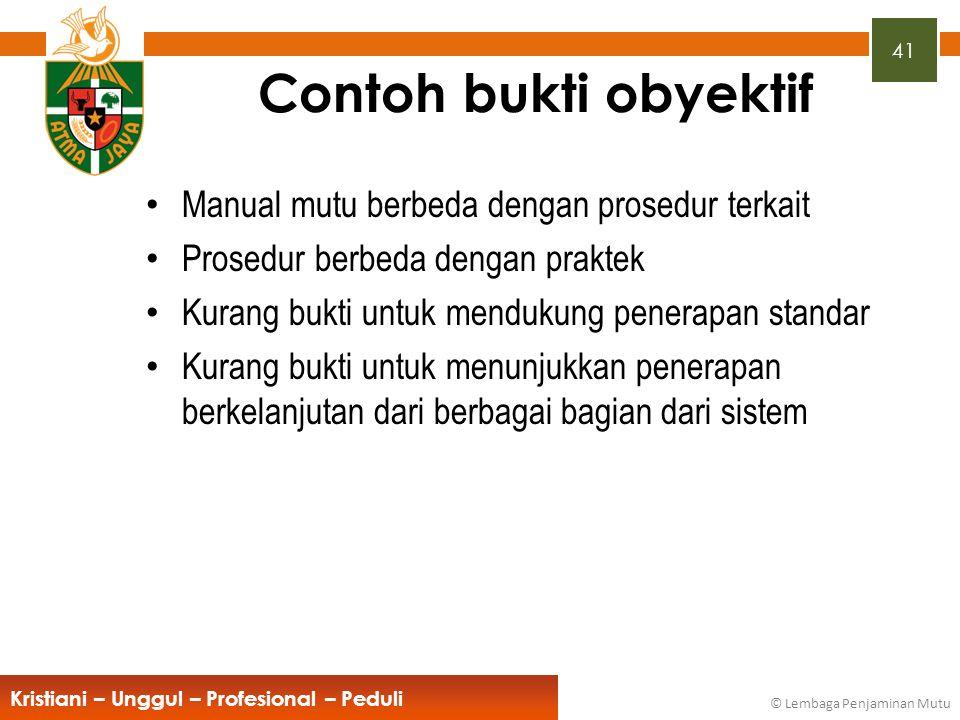 Contoh bukti obyektif Manual mutu berbeda dengan prosedur terkait