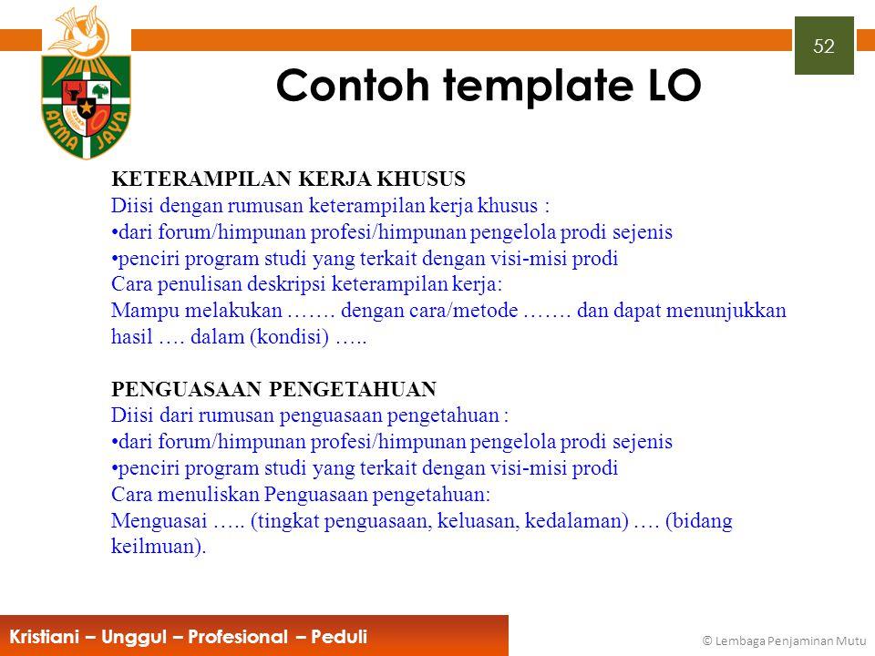 Contoh template LO KETERAMPILAN KERJA KHUSUS