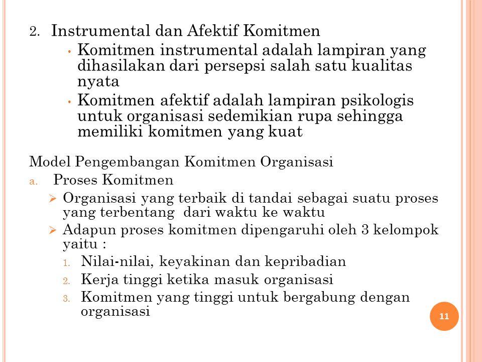 2. Instrumental dan Afektif Komitmen