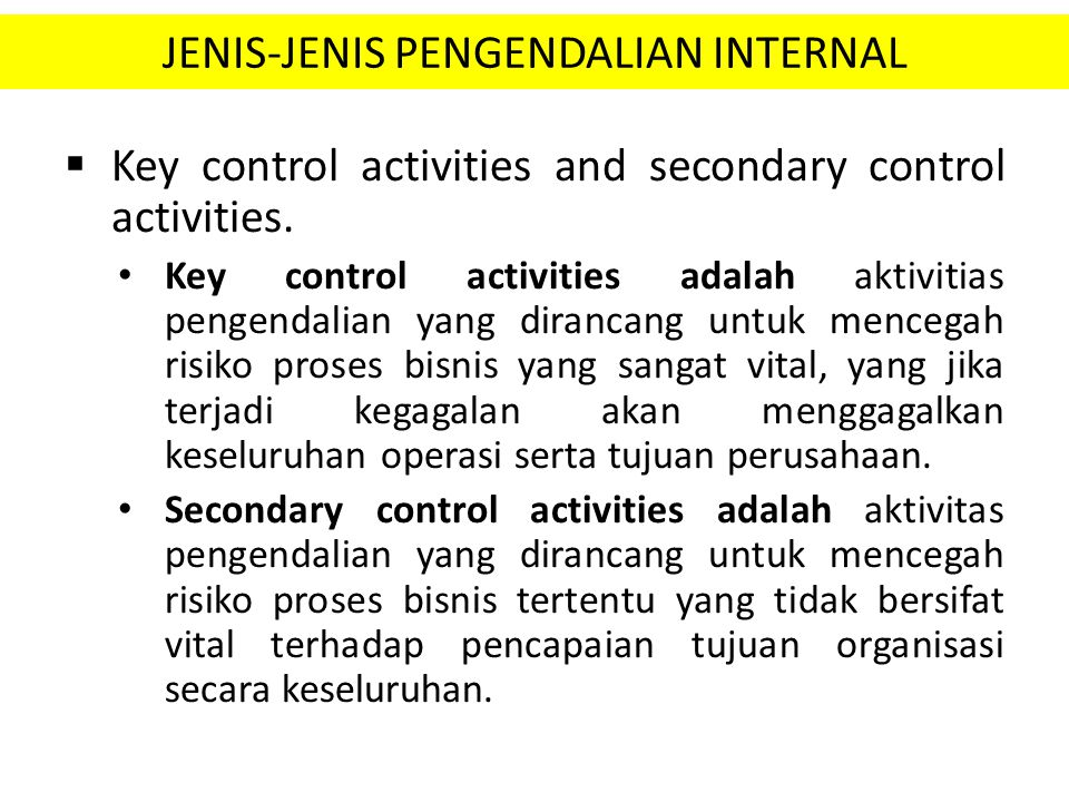JENIS-JENIS PENGENDALIAN INTERNAL
