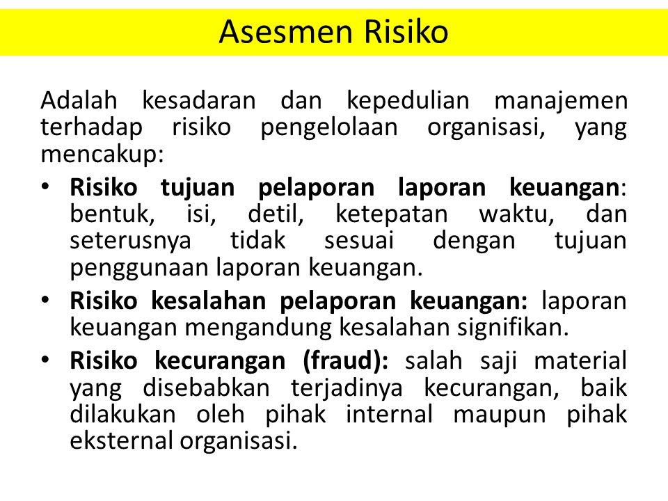 Asesmen Risiko Adalah kesadaran dan kepedulian manajemen terhadap risiko pengelolaan organisasi, yang mencakup: