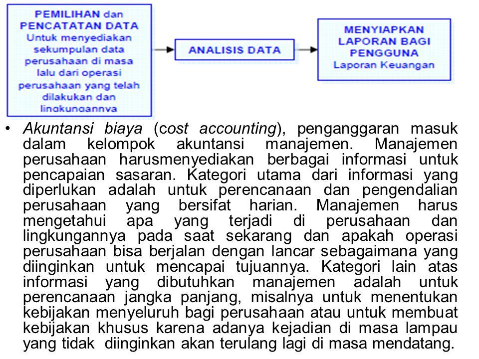 Akuntansi biaya (cost accounting), penganggaran masuk dalam kelompok akuntansi manajemen.